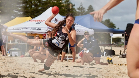 Action from beach handball