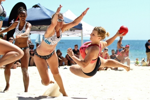 Beach handball action