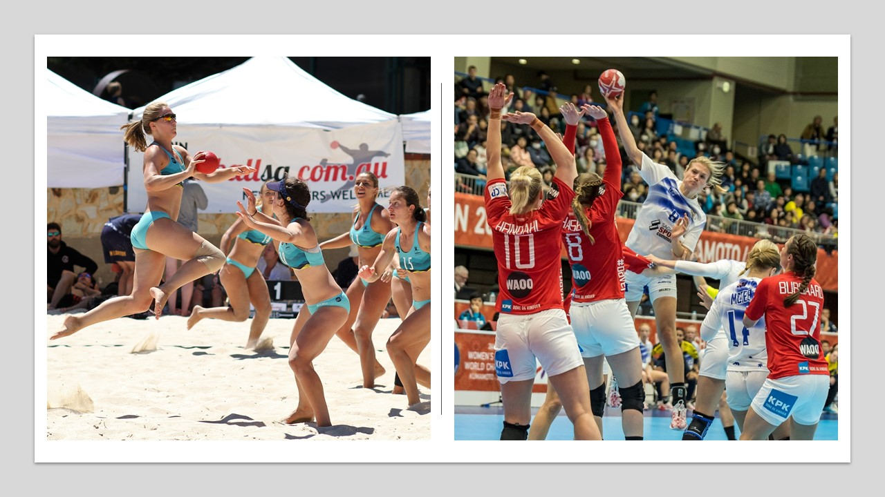 2 photos - 1 female beach player shooting for goal and 1 indoor player shooting
